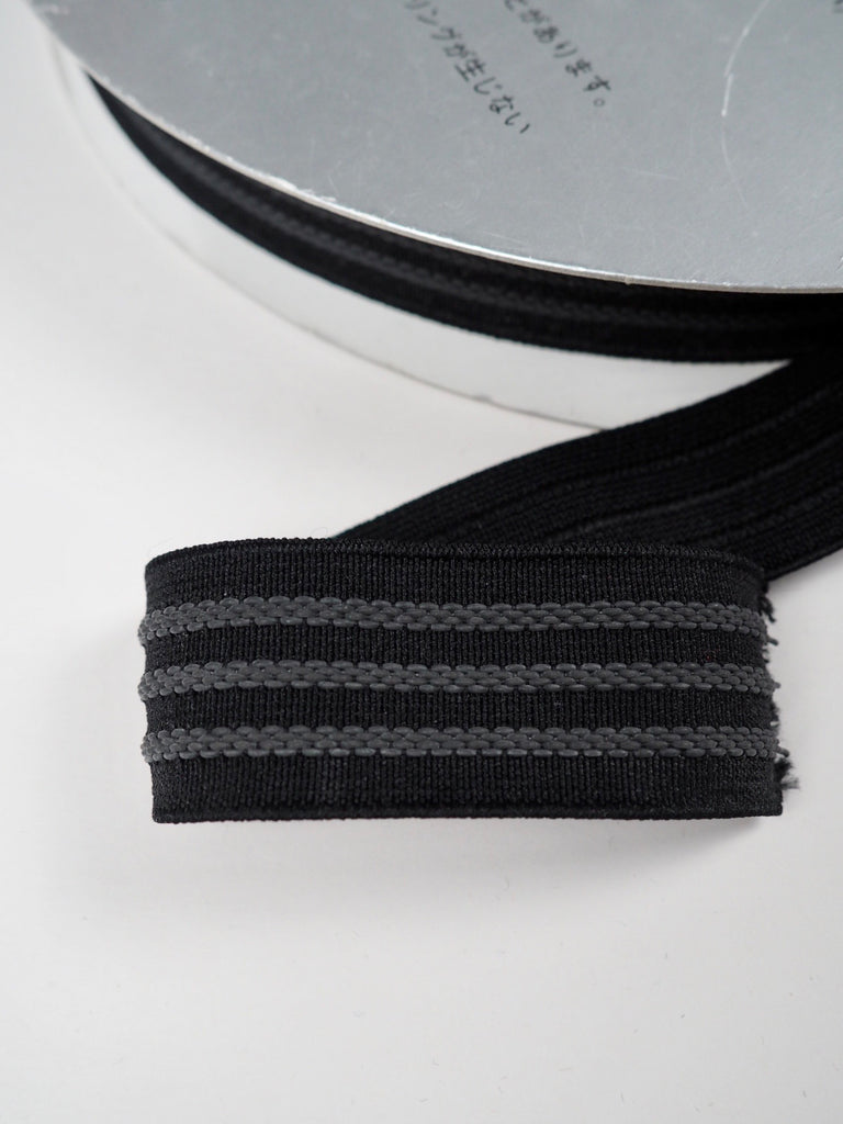 Black and Grey Embroidered Stripe Shindo Elastic 30mm