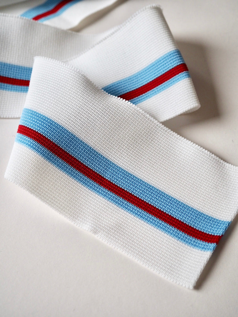 White and Blue Stripe Ribbed Cuff 7cm