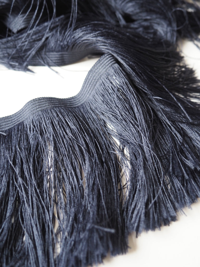 Midnight Feather Fringe Trim 10cm