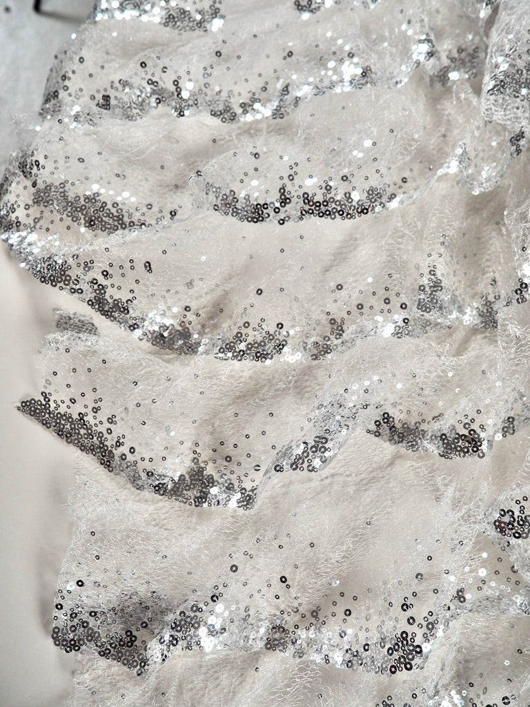 Fauna Silver Sequinned Tiered Ruffle Tulle