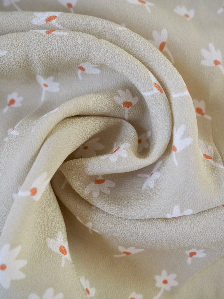 Stone Ditsy Floral Viscose Crepe