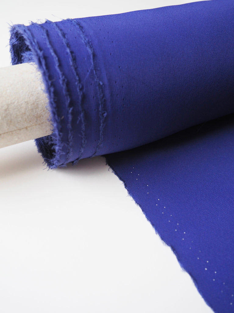 Cobalt Blue Silk Acetate Crepe De Chine