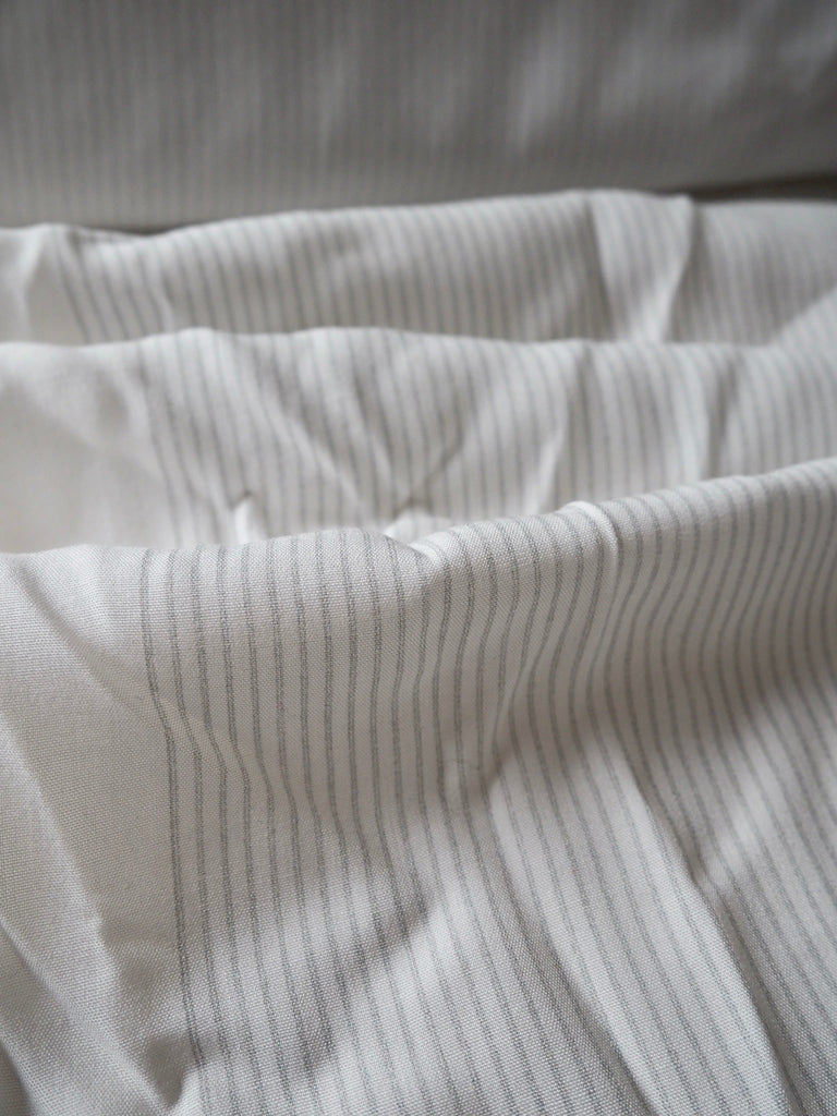White and Grey Pinstripe Viscose