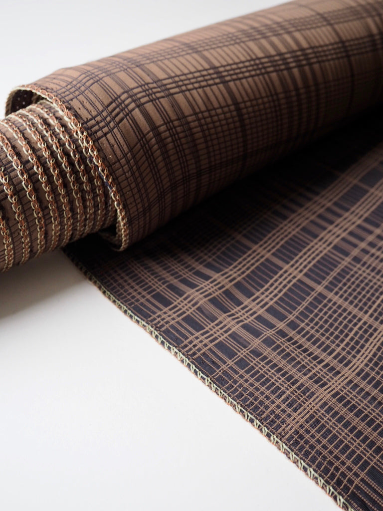Coffee Bean Check Viscose Jacquard