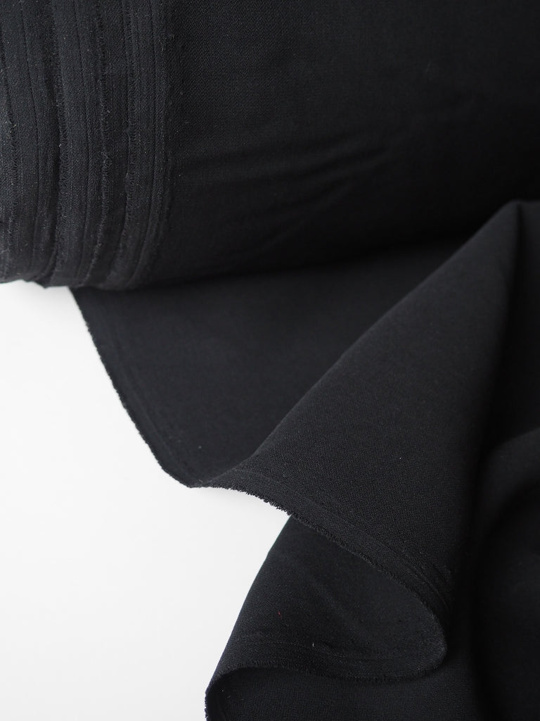 Black Lightweight Viscose Twill Crepe