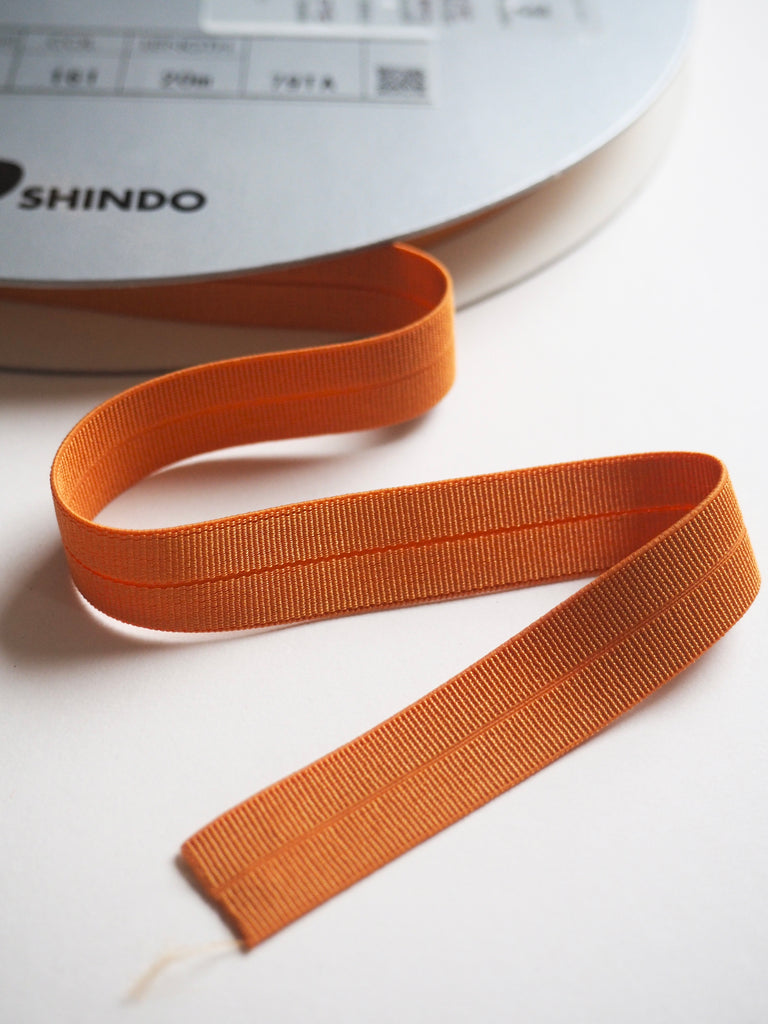 Tangerine Grosgrain Fold Over Elastic 14mm