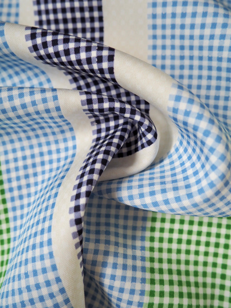 Green and Blue Gingham Stripe Stretch Viscose