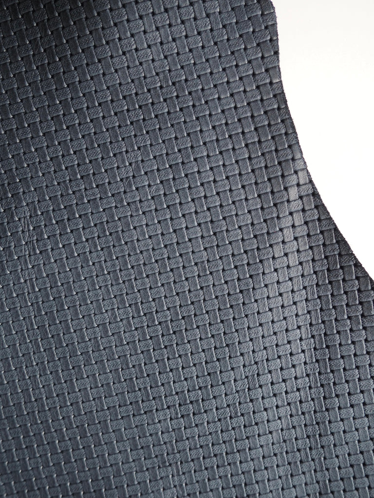 Embossed Navy Basketweave Cow Hide Leather, 100 x 70cm (111)