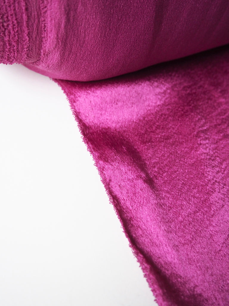 Magenta Crushed Satin Stretch Crepe