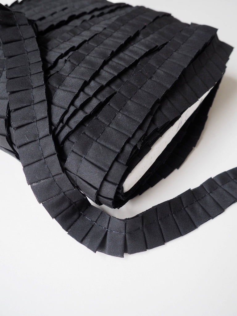 Black Pleated Ruffle Trim