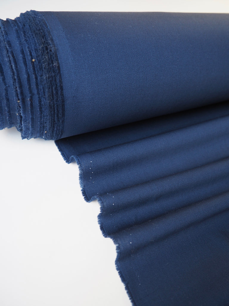 Navy Stretch Wool Twill