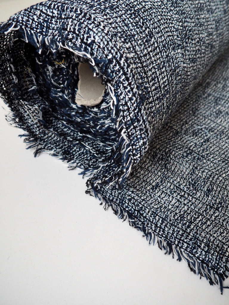 Blue Laminated Open Weave Cotton