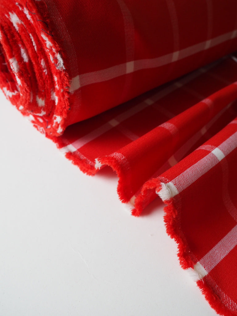 Red and White Check Heavy Twill