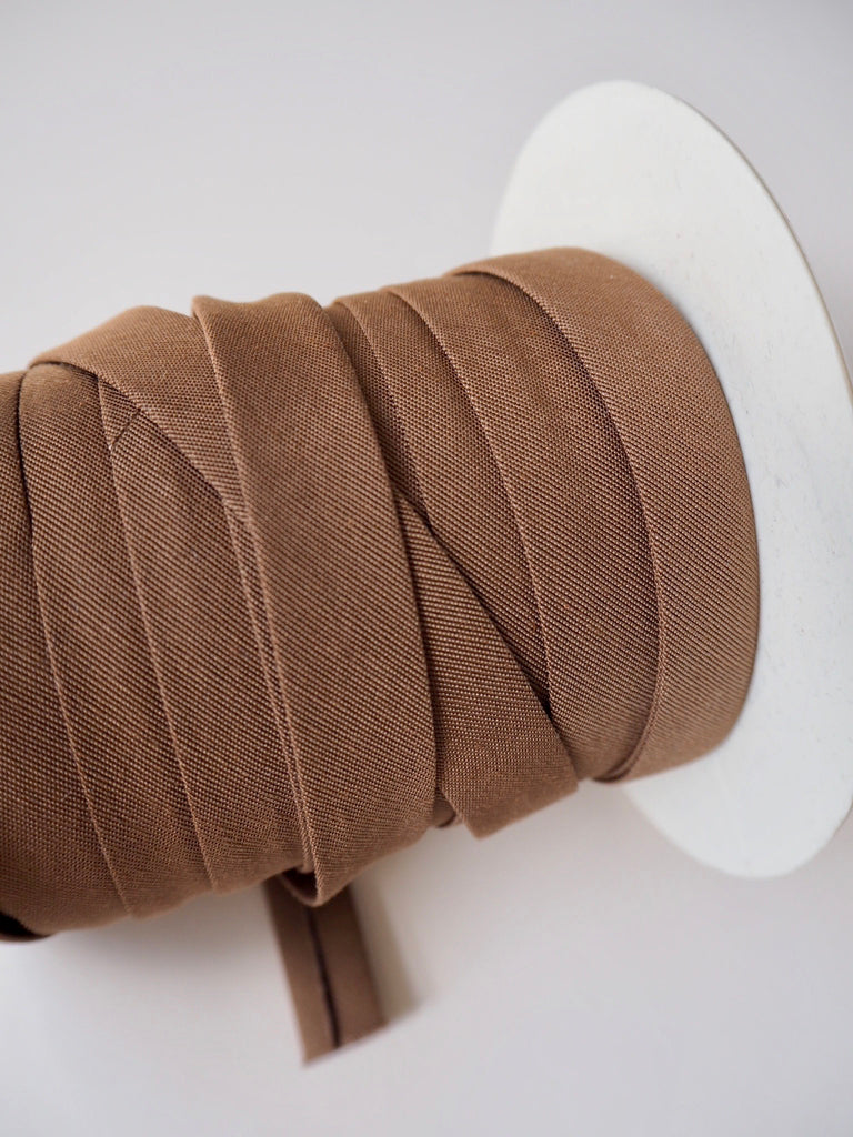 Brown Cotton Faille Bias Binding 14mm