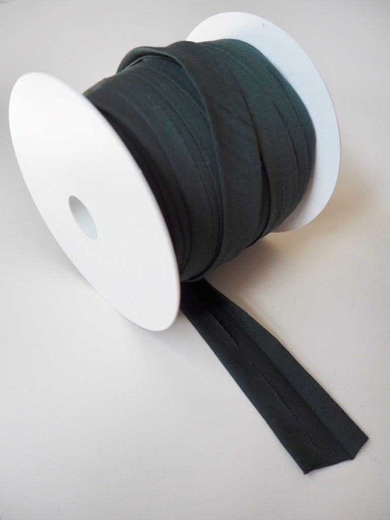 Dark Green Cotton Sateen Bias Binding 14mm