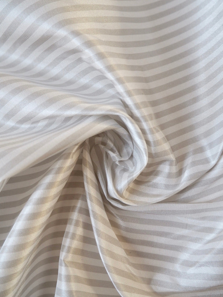 White and Grey Stripe Taffeta