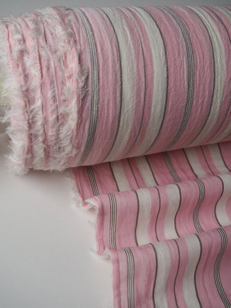 St Ives Pink and Cream Stripe Cotton