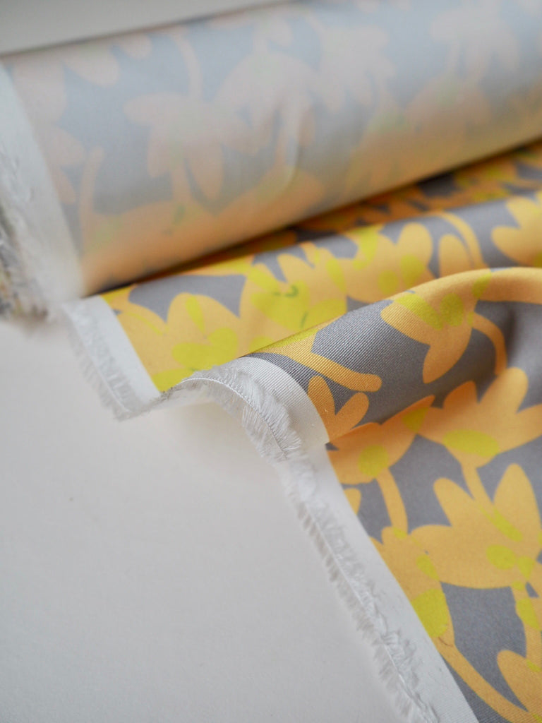 Yellow Floral Satin Faille