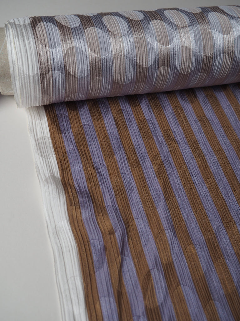 Lavender and Caramel Candy Stripe Satin Jacquard