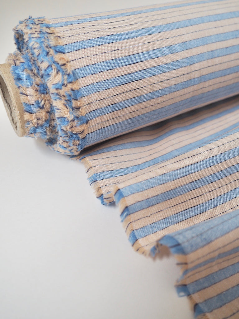 Blue and Peach Cotton Linen Stripe