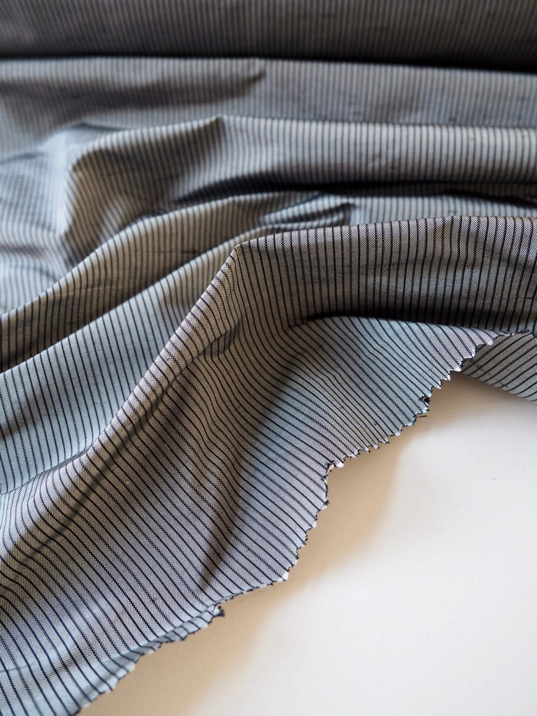 Pewter and Black Pinstripe Silk Taffeta
