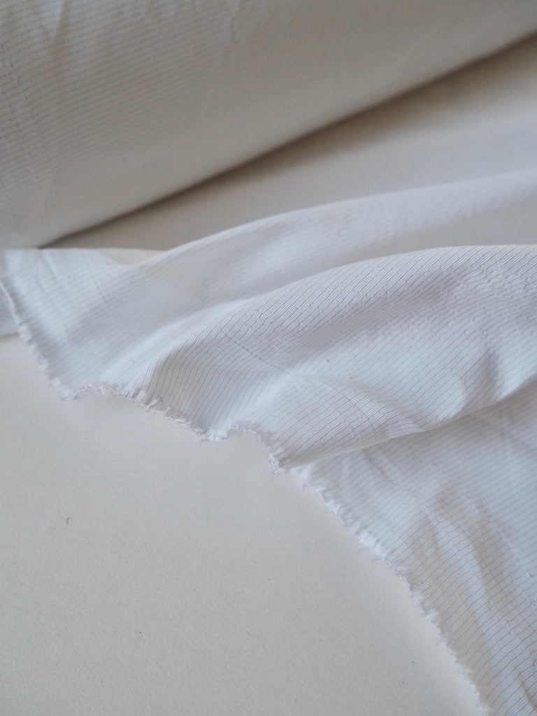 White Dimpled Stripe Taffeta