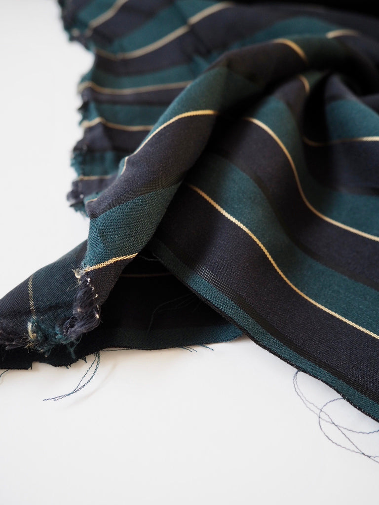 Green And Gold Stripe Viscose