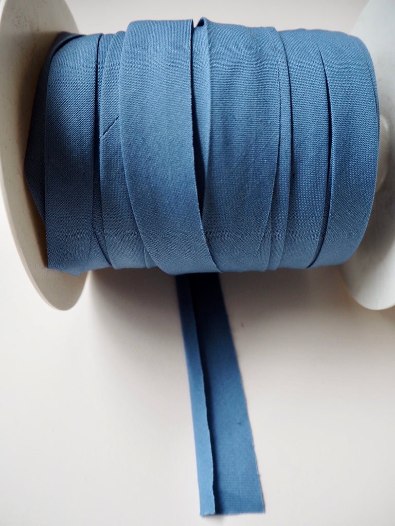 Grey Blue Polycotton Bias Binding 12mm