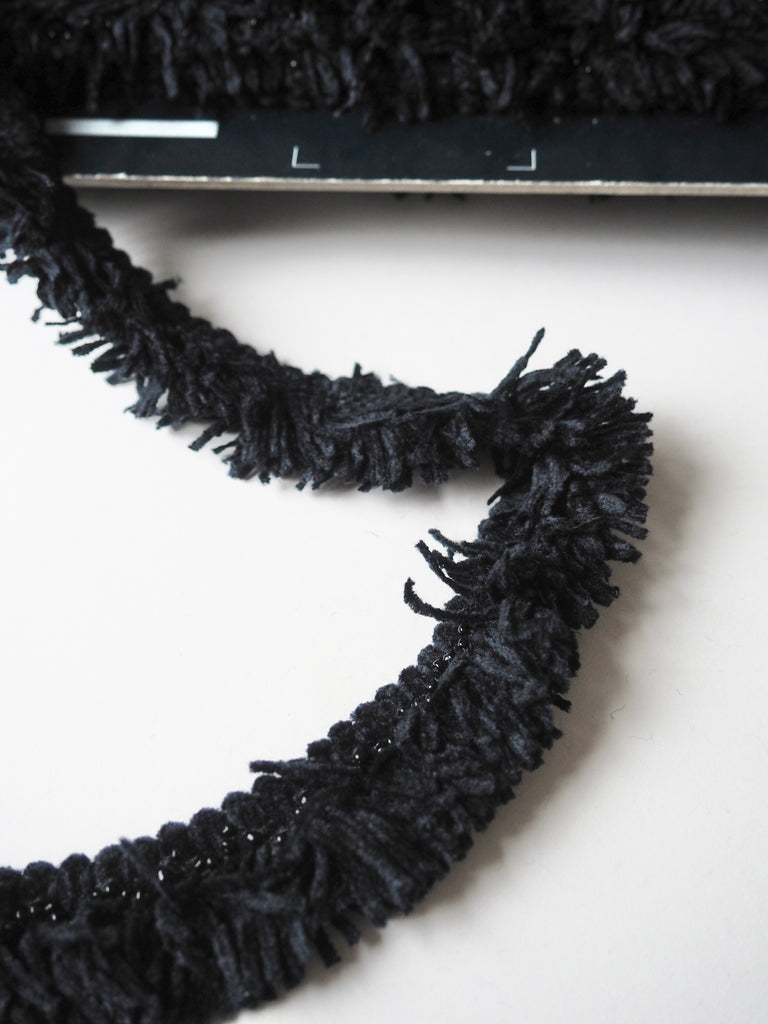 Midnight Beaded Chenille Fringe Trim 3cm
