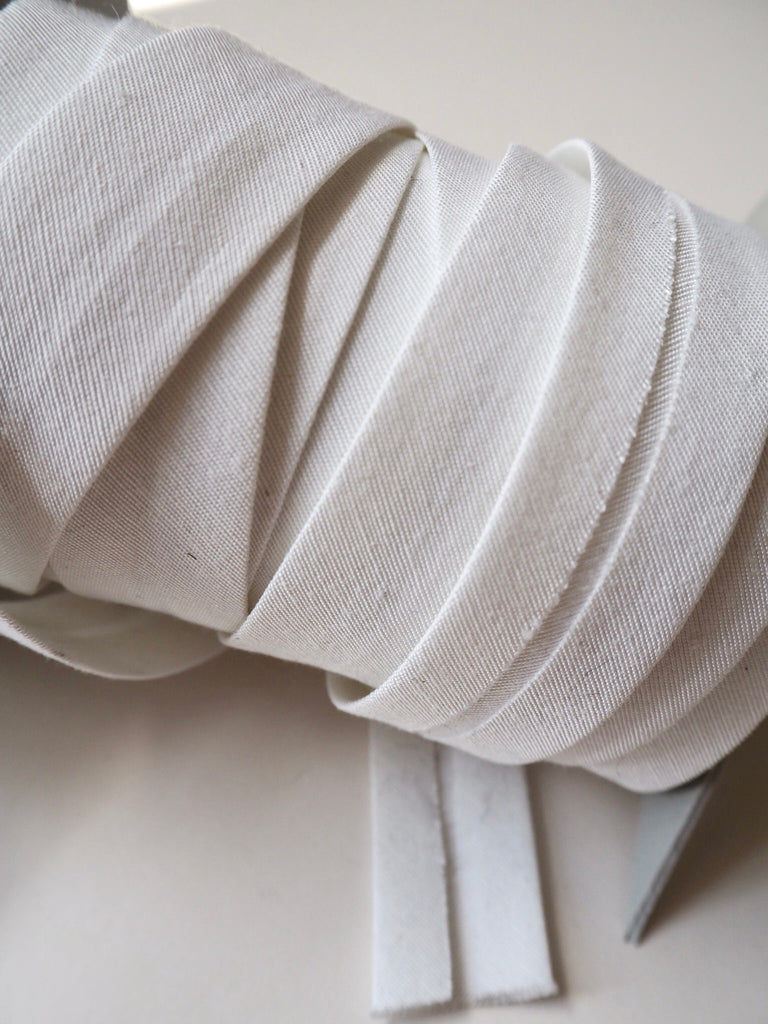 White Cotton Faille Bias Binding 22mm