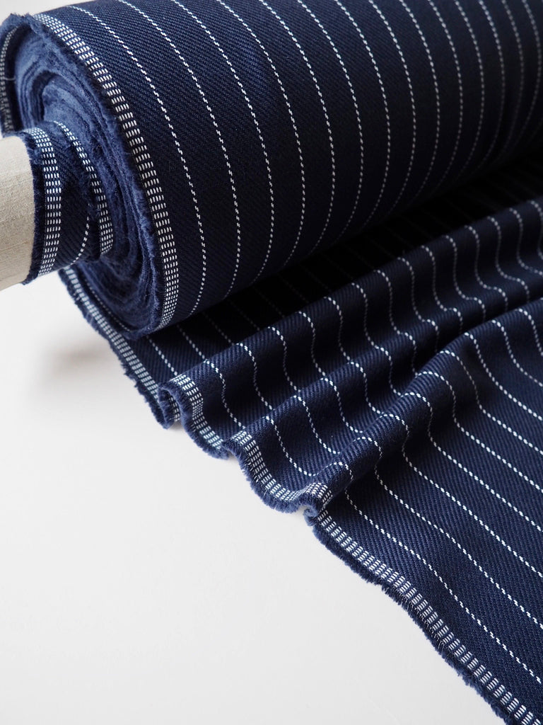 Blue and White Stripe Twill