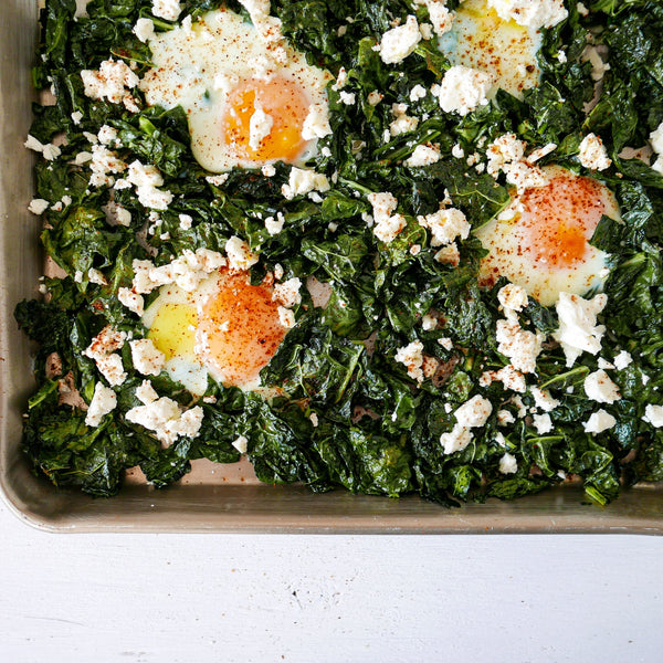 One Pan Crispy Kale and Egg Bake