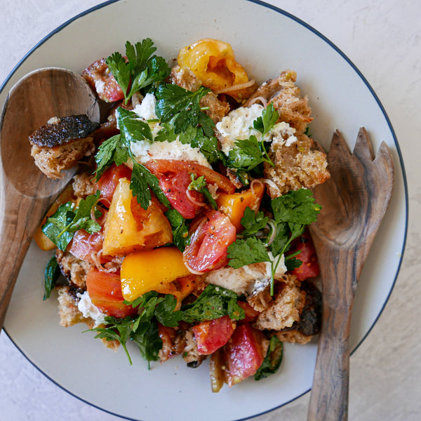 Heirloom Tomato Panzanella with Creamy Ricotta