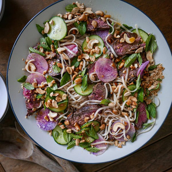 Grilled Steak and Rice Noodle Salad with Crunchy Veg and Chili Lime Dressing