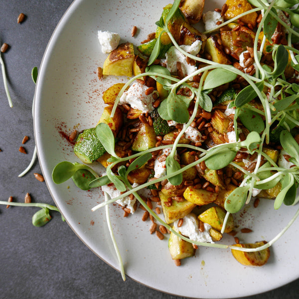 Sautéed Summer Squash with Smokey Sunflower Seeds and Goat Cheese