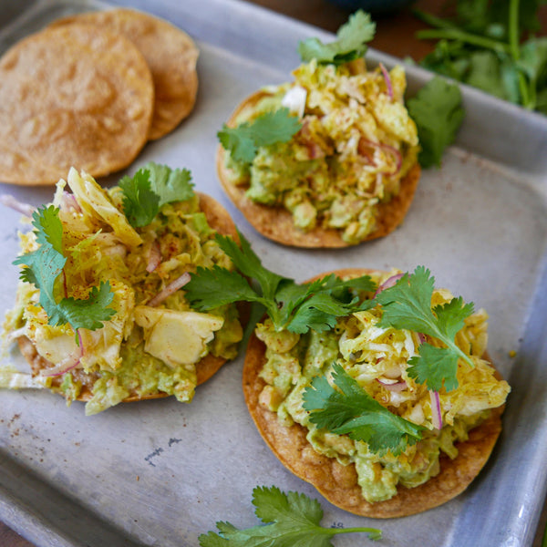 Smashed Chickpea Avocado Tostada - Healthy Snacks