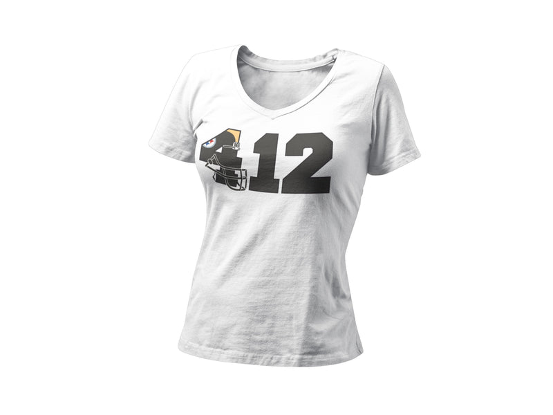 412 Pittsburgh Pride Women's Fitted V Neck Shirt | Pittsburgh Football Unique Bachelorette Party Graphic T-Shirt | 3 River Key Stone State