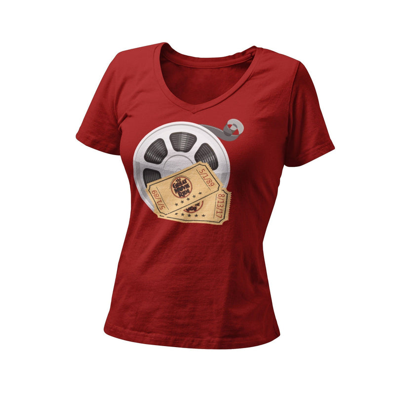 A Great Movie Ride Tribute Women's Fitted V Neck Shirt | Orlando Vacation Shirt | Theme Park Ride Inspired T-Shirt | Retro Theme Park Tee