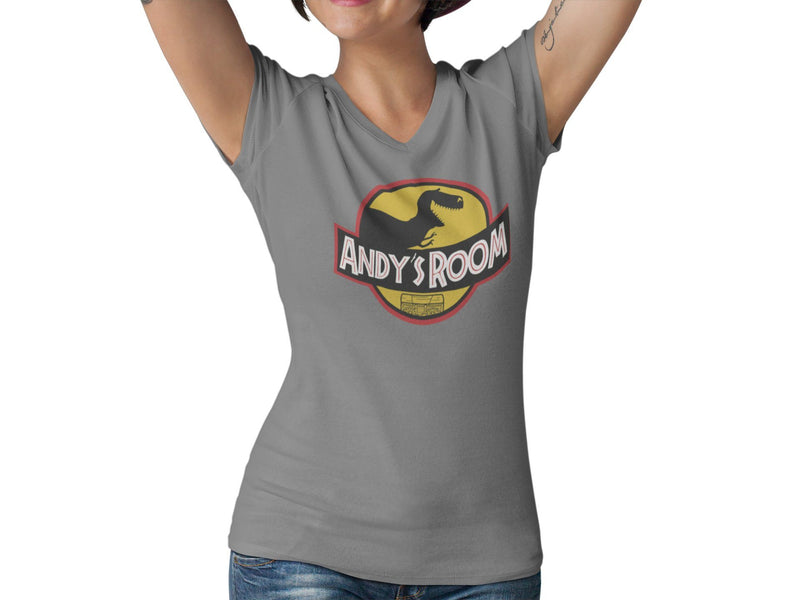 Andy's Room Women's V Neck T-Shirt | Toys Dinosaur Park Graphic Tee | Jurassic WDW Orlando Vacation Tshirt | Dino Toy Movie Crossover Shirt