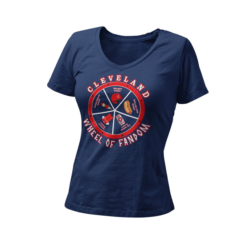 Cleveland Wheel Of Fandom Women's Fitted V Neck Shirt | Cleveland Baseball Unique Graphic T-Shirt | CLE 440 216 Shirt | Ohio Local Artist