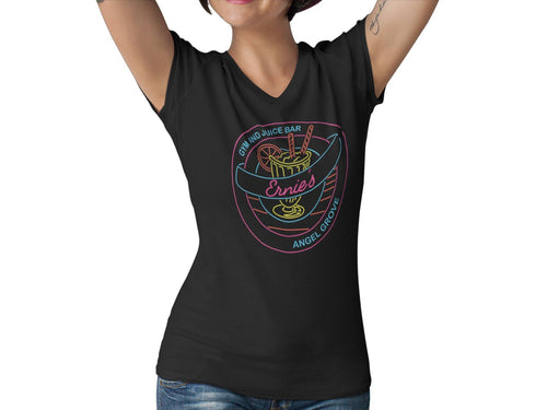 Ernies Youth Center Women's Fitted V Neck Shirt | Mighty Superhero 90s Ranger TV Graphic T-Shirt | Grove Gym and Juice Bar Tee | Comic Con