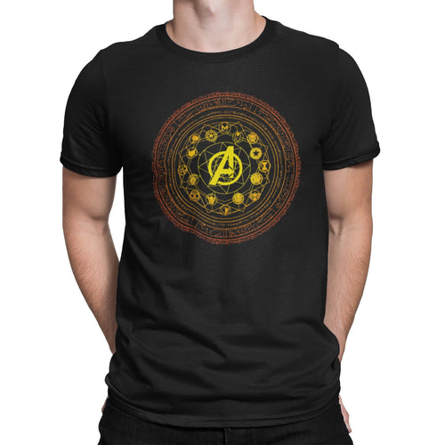 Heroes Assembled Unisex Shirt | Cinematic Universe Unique Graphic T-Shirt | Earth's Mightiest Superhero Comic Con Tee | Magic Shield Tee