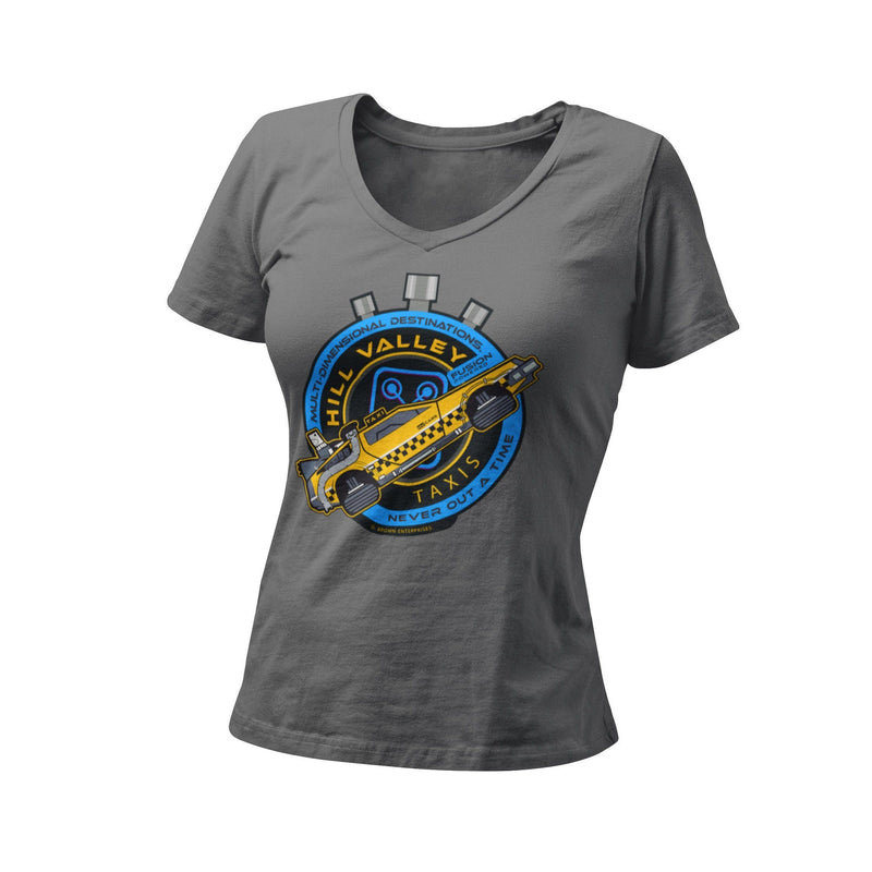 Back To The Future Doc Brown Flux Capacitor Hill Valley Taxi Company Women's Fitted Graphic T-Shirt