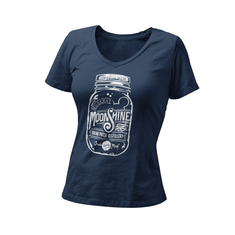 Muskrat Moonshine Women's V Neck Shirt | Hidden Mouse Graphic Tee | Orlando Theme Park Mountain Ride Tshirt | WDW Vacation Splash Mt T-Shirt