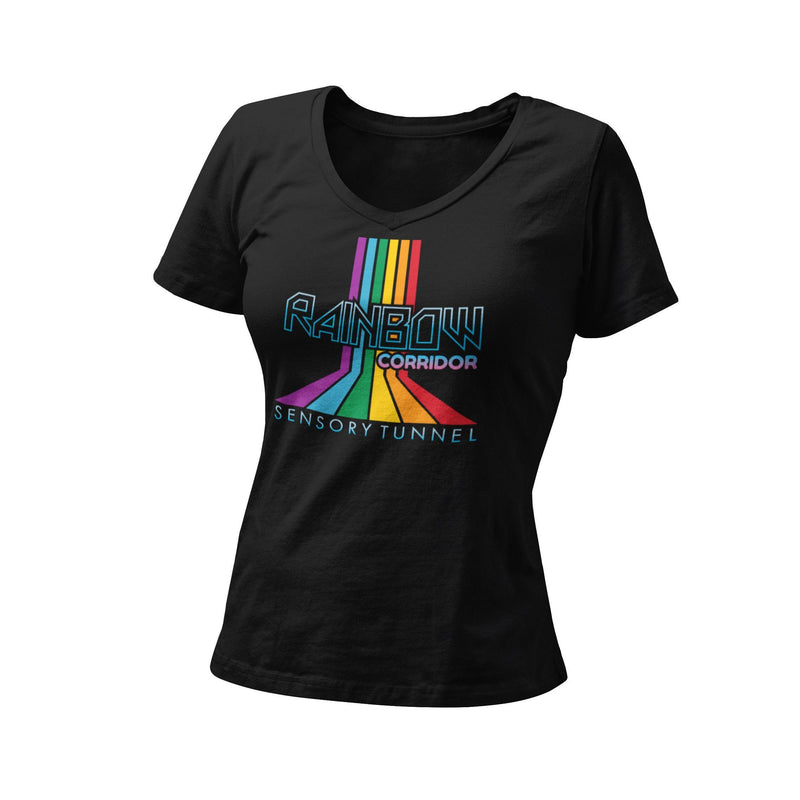 Rainbow Corridor Sensory Tunnel Women's Fitted V Neck Shirt | Retro Theme Park Attraction Unique Graphic T-Shirt | Orlando Bachelorette