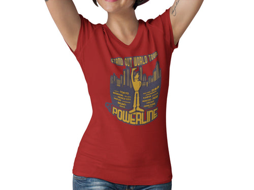 Stand Out World Tour Women's V Neck Tee |  Powerline T-Shirt |  Stand Out Tour Tee | Unique Orlando Theme Park Shirt | Movie Graphic T Shirt