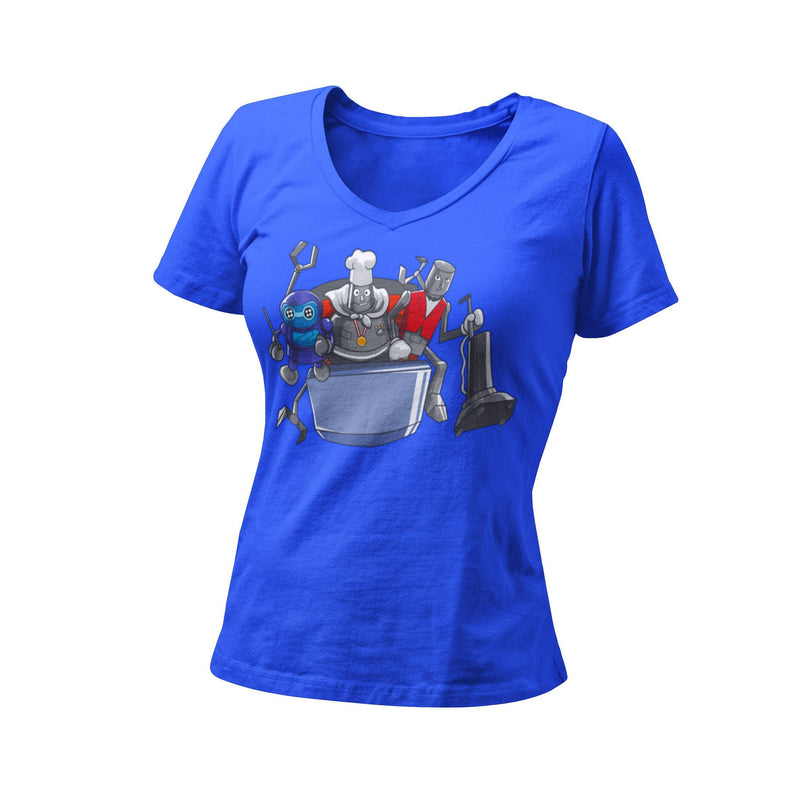 The Horizon-Bots Women's Fitted V Neck Shirt | Orlando Bachelorette Theme Park Party | Vacuuming Robot Tee | First Visit | Annual Passholder