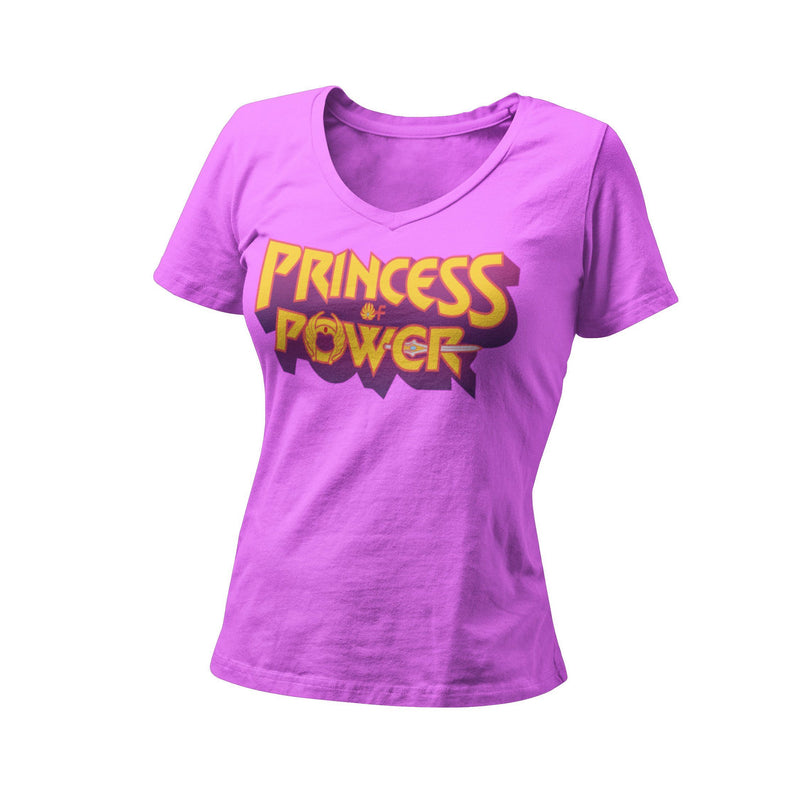 The Princess Power Women's Fitted V Neck Shirt | Retro 80's Saturday Morning Cartoon Graphic T-Shirt | Unique 80's Female Hero Tee | Honor