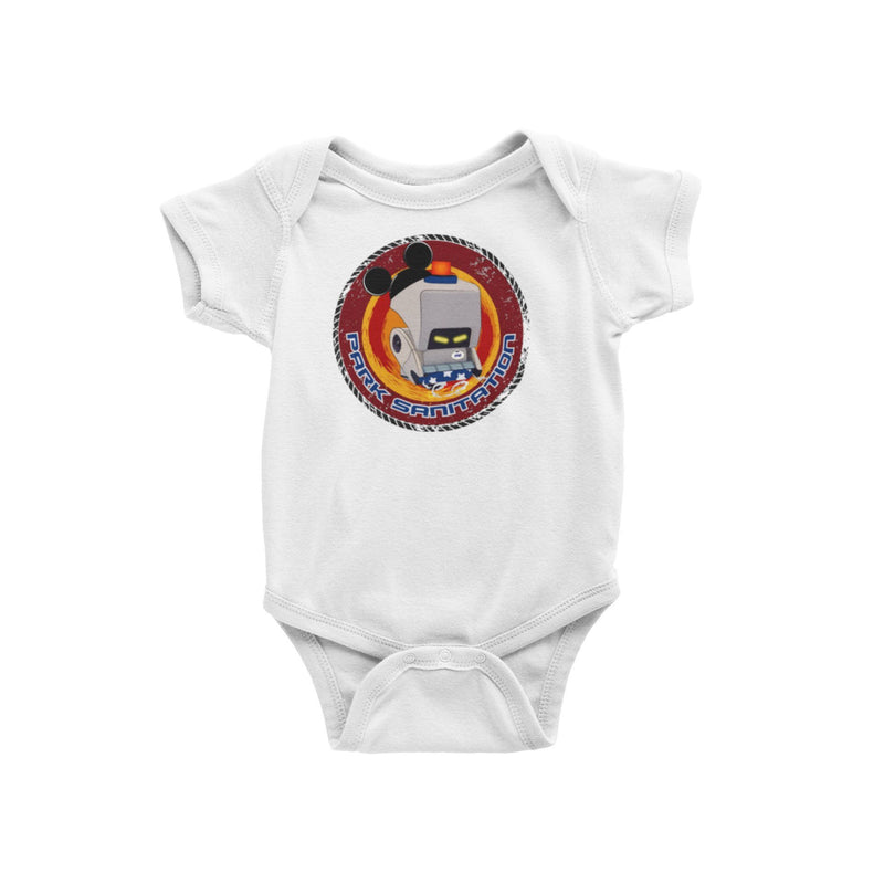 Wall-e Mo Space cleaning Sanitation Pandemic Clean and Safe Cast Member Park Sanitation Baby Onesie Vacation Bodysuit Disney Pixar Disney World Disneyland