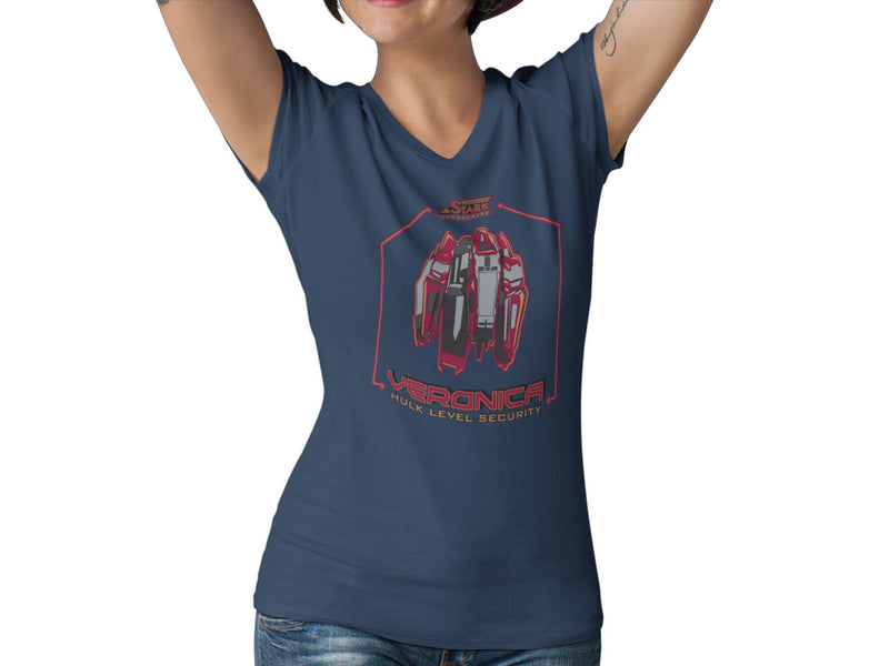 Veronica Security Systems Women's Fitted V Neck Shirt | Unique Comic Con Book Superhero Graphic T-Shirt | Superhero Tech Shirt | Tony Bruce